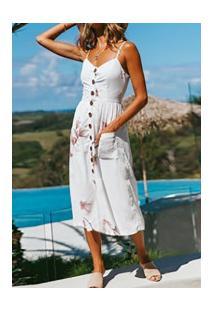 Vestido Martinelli Feminino - Branco Com Flores