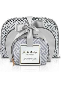 Kit De 3 Necessaires Prateada - Jacki Design