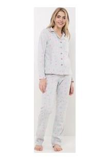 Pijama Em Fleece Estampado Com Abertura Total