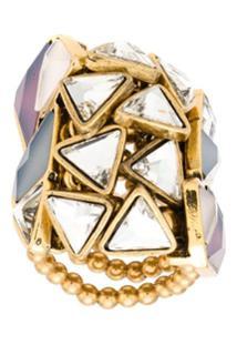 Camila Klein Anel Botões Triângulos - Dourado