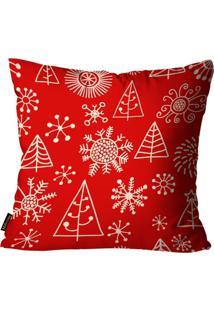 Capa Para Almofada Mdecore Natal Arvore De Natal Vermelha 45X45Cm