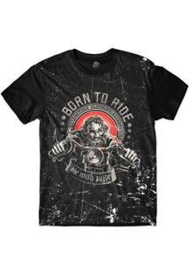 Camiseta Bsc Motoqueiros Nascido Para Andar Sublimada - Masculino-Preto