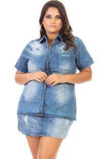 Camisa Jeans Feminina Destroyed Manga Curta Plus Size - Tricae