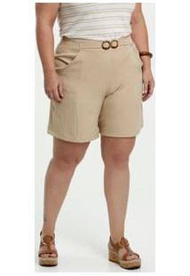 Bermuda Feminina Social Fivela Plus Size Gups