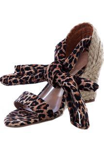 Anabela Butique De Sapatos Animal Print Onça Amarração