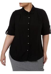 Camisa Manga Curta Millenium Plus Size Feminina - Feminino-Preto