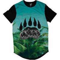 932d4b901041f Camiseta Longline Long Beach Pegada De Urso Palmeira Sublimada Masculina -  Masculino-Azul