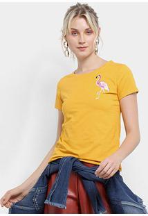 Camiseta Top Moda Flamingo Bordada Feminina - Feminino-Amarelo