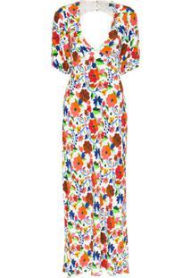 Rixo Vestido Steph Decote Em V Com Estampa Floral - Branco
