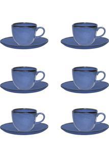 Jogo Xícaras De Café Oxford Ryo Porcelana 12 Peças 75Ml Santorini