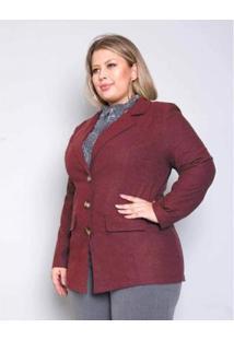 Casaco Palank Plus Size Alfaiataria Flanel Feminino - Feminino-Vinho
