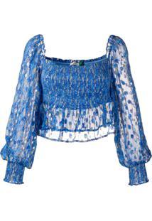 Rixo Blusa Com Elástico - Azul
