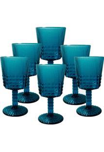 Conjunto De Taças Quadriculadas Azul 6 Peças - Tricae
