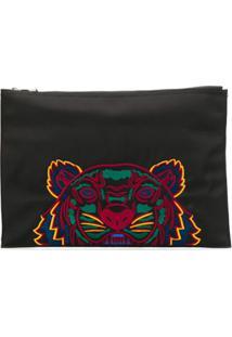 Kenzo Clutch Com Logo E Tigre - Preto