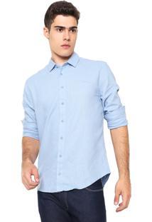 Camisa Linho Colcci Slim Logo Azul