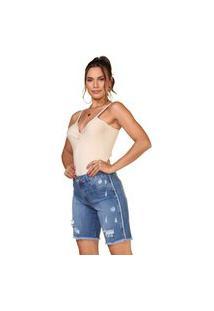 Bermuda Jeans Confort Lúcia Figueredo Destroyed Azul