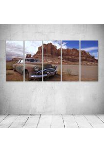 Quadro Decorativo - Desert Old Cars Landscape Nature Rocks - Composto De 5 Quadros