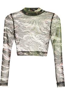 À La Garçonne Blusa Cropped Estampada - Preto