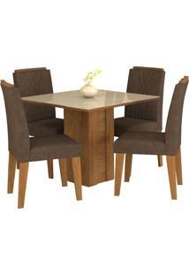 Sala De Jantar Rafaela 95 Cm Com 4 Cadeiras Savana/Off White Cacau