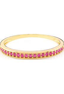Anel Em Ouro Amarelo 18K Com Safira Pink - Meia Aliança 17