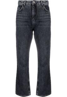 Patrizia Pepe Calça Jeans Cropped Cintura Alta - Cinza