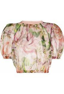 Dolce & Gabbana Blusa Cropped De Organza Com Estampa Floral - Rosa
