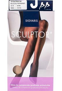 Meia Calça Anticelulite Sigvaris Sculptor 15-20Mmhg M (Tamanho Médio) Curto (M1) Cor Natural Ponteira Fechada