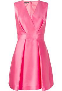 Alberta Ferretti Vestido Gola V Com Pregas - Rosa