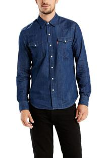 Camisa Levis Jeans Classic Western Azul Escuro Azul