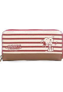 Carteira Semax Listrada Zíper Snoopy Feminina - Feminino-Vermelho