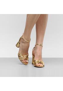 c5d5e6b5b R$ 184,99. Zattini Sandália Dourada Com Salto Dumond Urbana Grosso Soft -  Feminina Nó Feminino-Dourado