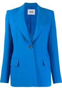 Msgm Blazer Com Abotoamento Simples - Azul