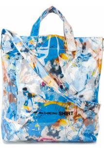Comme Des Garçons Shirt Bolsa Tote Com Estampa De Grafite - Azul
