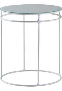 Mesa De Apoio Lateral Five 60Cm Com Vidro Branco - Gran Belo