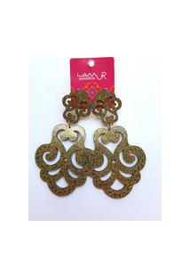 Brinco De Acrílico Arabescos Vazados - Glitter Dourado