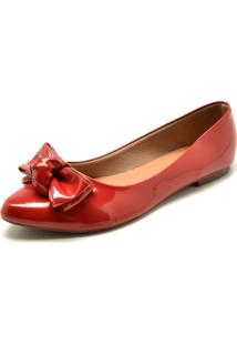 Sapatilha Fiveblu Laã§O Vermelha - Vermelho - Feminino - Sintã©Tico - Dafiti