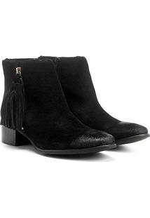 Bota Couro Cano Curto Shoestock Barbicacho Feminino - Feminino-Preto
