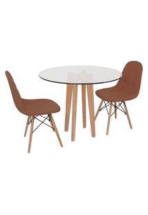 Conjunto Mesa De Jantar Em Vidro 90Cm Com Base Vértice + 2 Cadeiras Botonê - Marrom