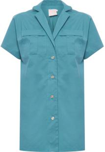 Camisa Feminina Safari Longa - Verde