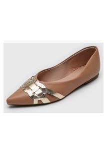Sapatilha Dafiti Shoes Recortes Nude/Dourado