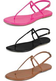 Kit 3 Pares Sandália Flat Rasteira Mercedita Shoes Pink/Preto/Caramelo