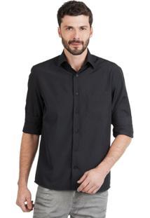 Camisa Di Sotti Microfibra Preta - Masculino