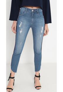Jeans Cropped Assimétrico Com Nervuras - Azul & Vermelhomorena Rosa