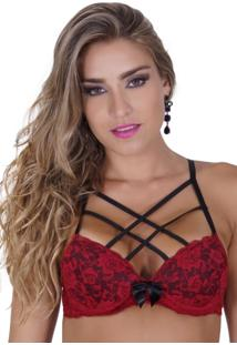 Sutiã Click Chique Básico Strappy Bra Vermelho