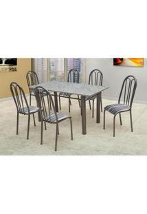 Conjunto De Mesa Carla Com 6 Cadeiras Craqueado Preto Listrado