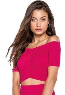 Blusa Rosa Escuro Ciganinha Cropped