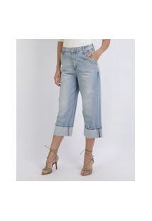 Calça Jeans Feminina Pantacourt Com Barra Dobrada Azul Claro