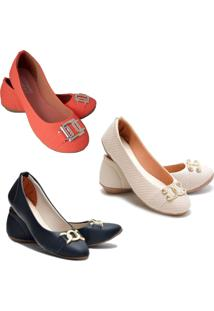 Kit 3 Pares Sapatilhas Feminina Estilo Shoes Laranja
