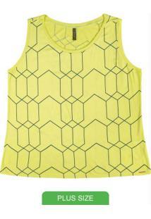 Blusa Estampada Sem Manga Verde