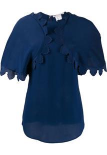 Stella Mccartney Blusa Com Babados - Azul